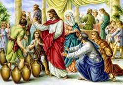 Jesús convierte el agua en vino en Caná de Galilea