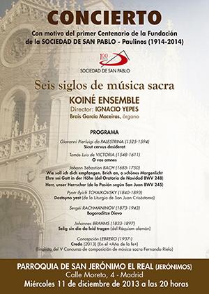 concierto musica sacra sociedad san pablo