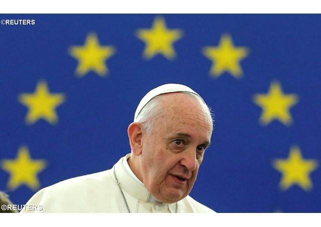Papst Franziskus (IHS) als Führer der Weltreligion Papa-Europa