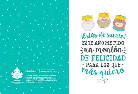 postales de navidad con mensajes positivos y solidarios para colaborar con la obra social de los hermanos de san juan de dios